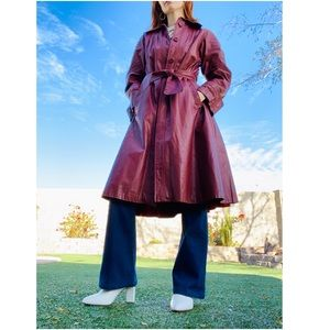 1970s vintage rust red leather trenchcoat